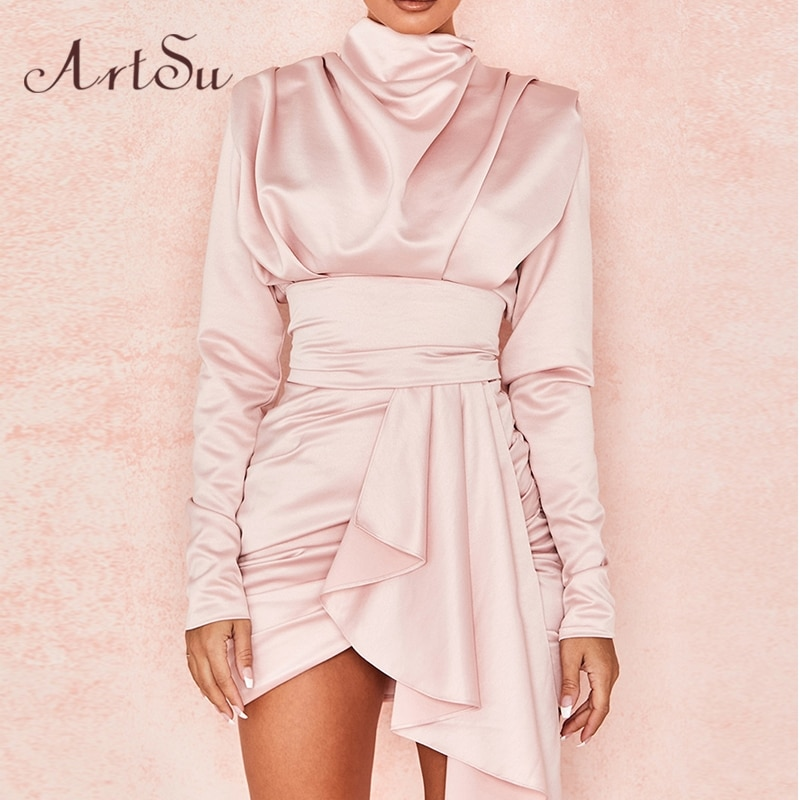 Artsu Office Ladies Elegant Greece Pink Satin Mini Dress Long Sleeve  Party Night Club Ruched Slik Dresses 2020  ASDR60852