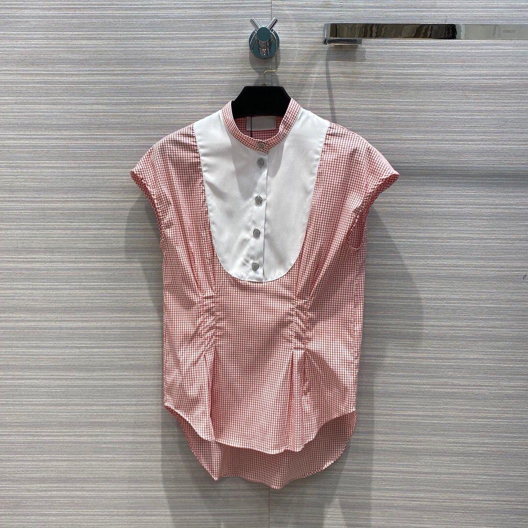 2020 fashion summer cotton shirt blouse women high-end diamonds button o-neck stripes patchwork sleeveless sweet lady blouses