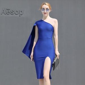 2021 New Women Winter Bodycon Dress One Shoulder Elegant Bandage Woman Elegant Mini Dresses Party Club Ladies Clothing