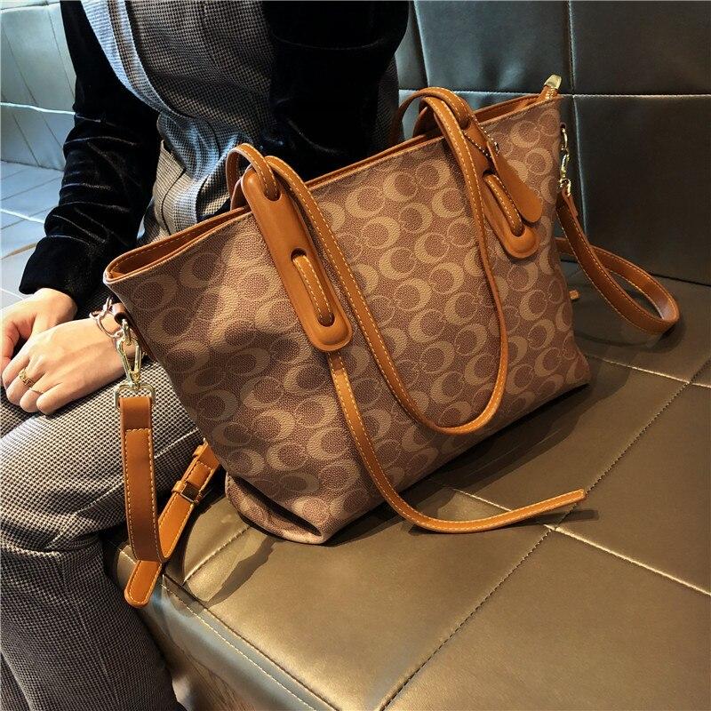 حقائب يد جلدية كبيرة السعة حقائب يد جلدية موضة 2020 حقائب الكتف قطري عالية الجودة المرأة المحفظة وحقيبة يد كيس الرئيسي