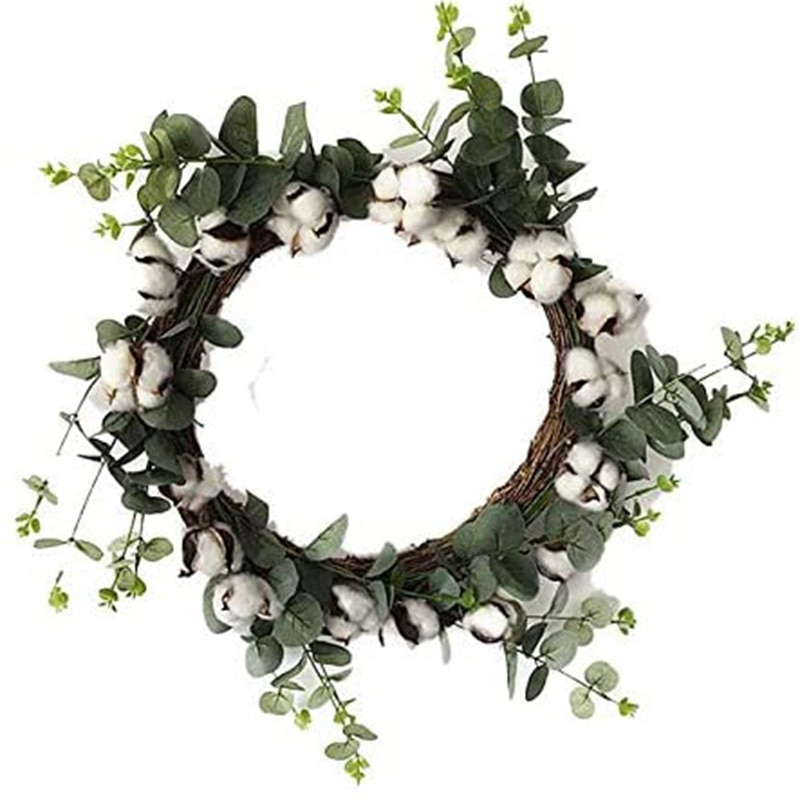 Хлопковое кольцо фермерский дом натуральный хлопок Болл старинный цветок Круглый венок и искусственный зеленый лист ретро венок