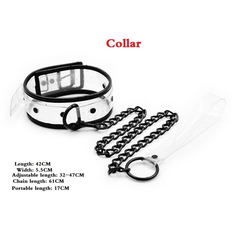 Adjustable Transparent PVC Handcuffs Ankle Cuffs Collar Neck Manacle BDSM Bondage Restraints Shackles Fetish Sex Toy for Couples