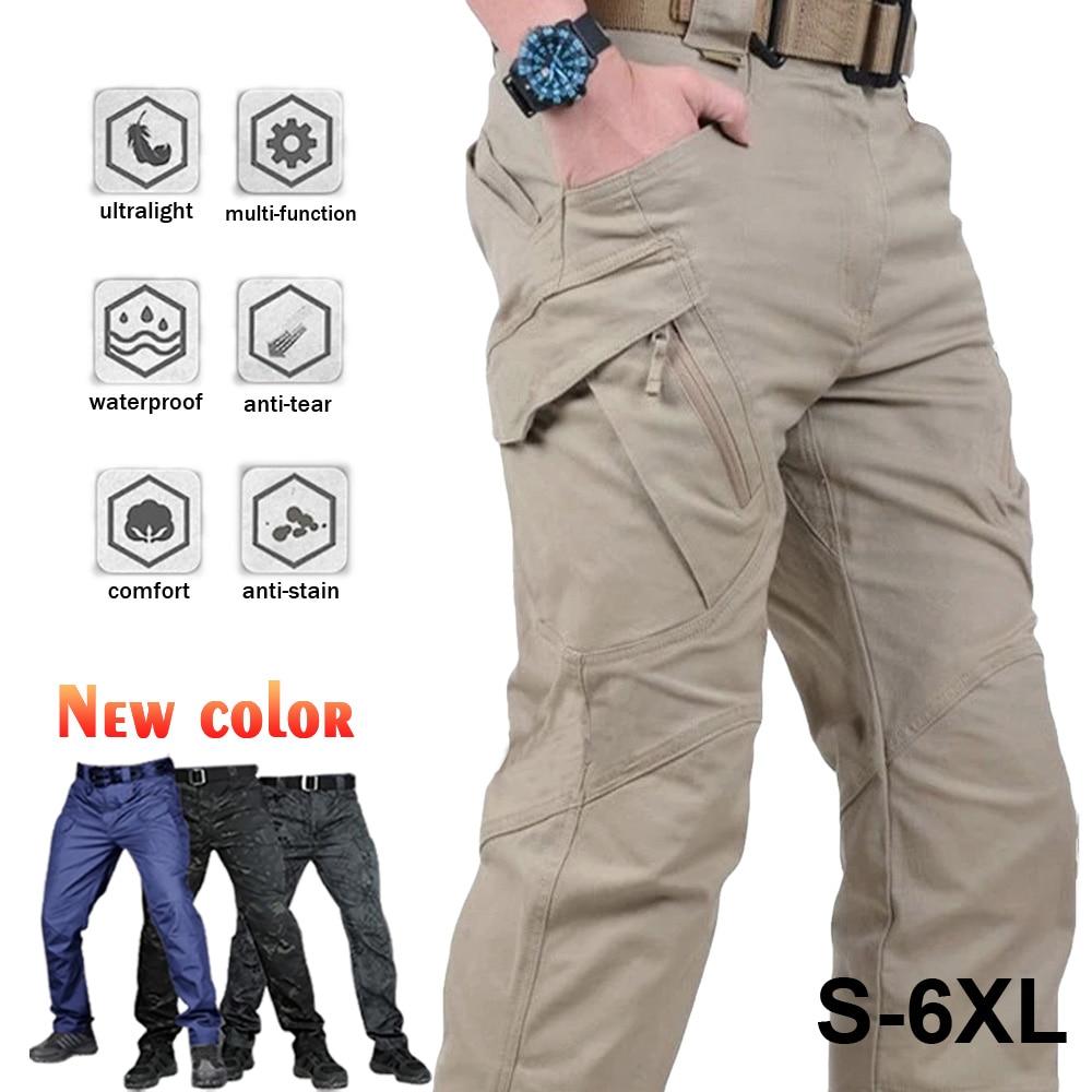 Мужские повседневные брюки-карго больших размеров, спортивные штаны для треккинга, походные штаны, тактические спортивные штаны в стиле ми...