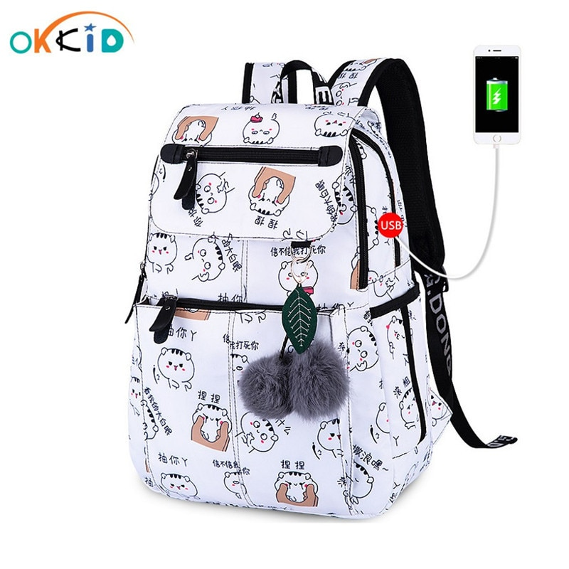OKKID school bags for girls female laptop backpack usb backbag children backpacks cute cat school ba