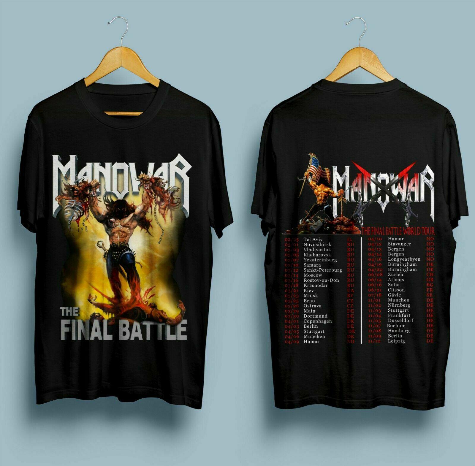 Nuevo Manowar The Final World Tour 2019 negro camiseta tamaño S-2XL Camiseta estilo Verano Divertido