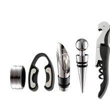 Wein Opener Kit Set Einschließlich 5 Pcs Werkzeug Edelstahl Wein Opener Kit Ausgießer Wein Ring Wein Decanter Flasche Opener cutter