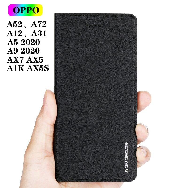 Virar Capa de couro Caso para OPPO A52 A72 A31 A5 A9 2020 A91 A12 AX7 AX5 AX5S A1K Carteira Telefone Back Covers Casos