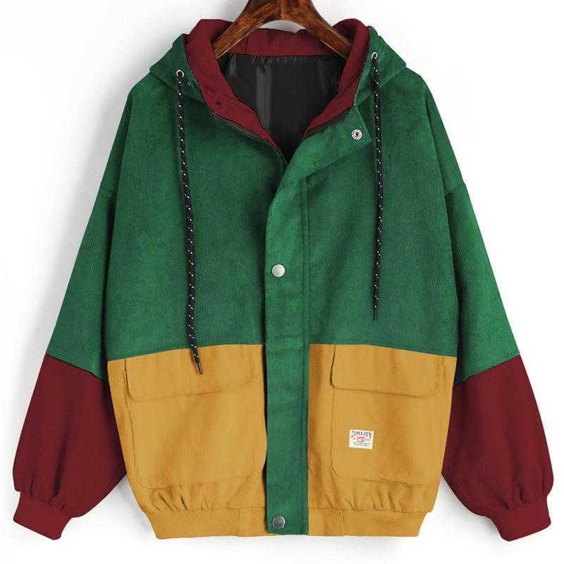 Верхняя одежда, пальто, куртки, вельветовые лоскутные куртки оверсайз, осенняя куртка, Женская куртка, уличная одежда, пальто, ветровка