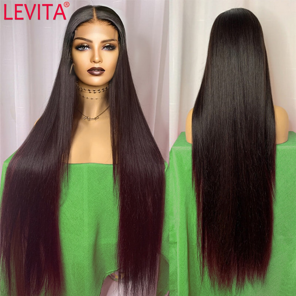 28 30 32 34 36 Inch Lace Front Long Hair Wig Brazilian Bone Straight Lace Front Human Hair Wigs For Women 4x4 Lace Closure Wig