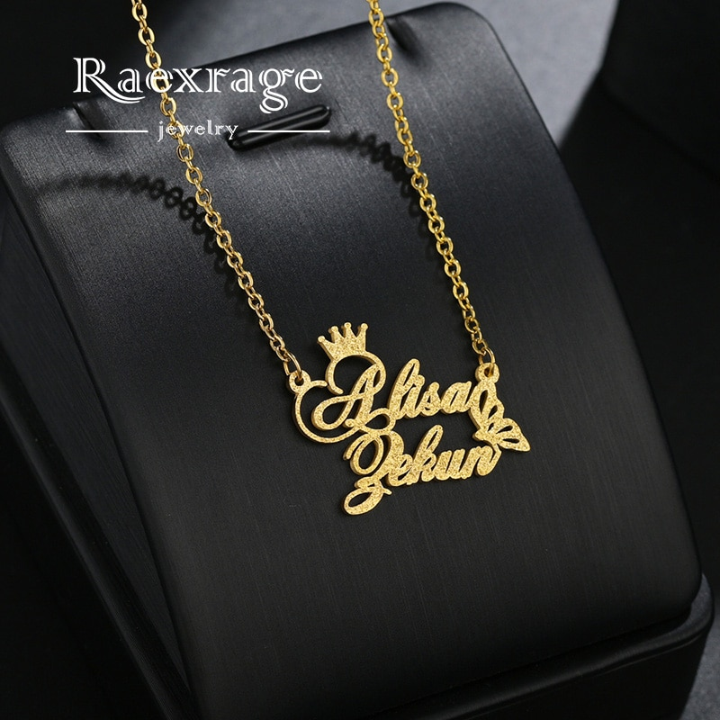 AliExpress - Raexrage Personalized Couple Crown Name Necklaces Stainless Steel Butterfly Pendants Choker Frosted Necklaces For Girl Women