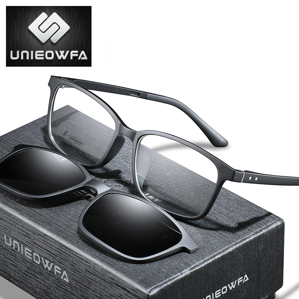 مشبك مغناطيسي التدريجي على النظارات الرجال قصر النظر مشبك مغناطيسي الاستقطاب على النظارات الشمسية النساء وصفة طبية النظارات البصرية واضحة