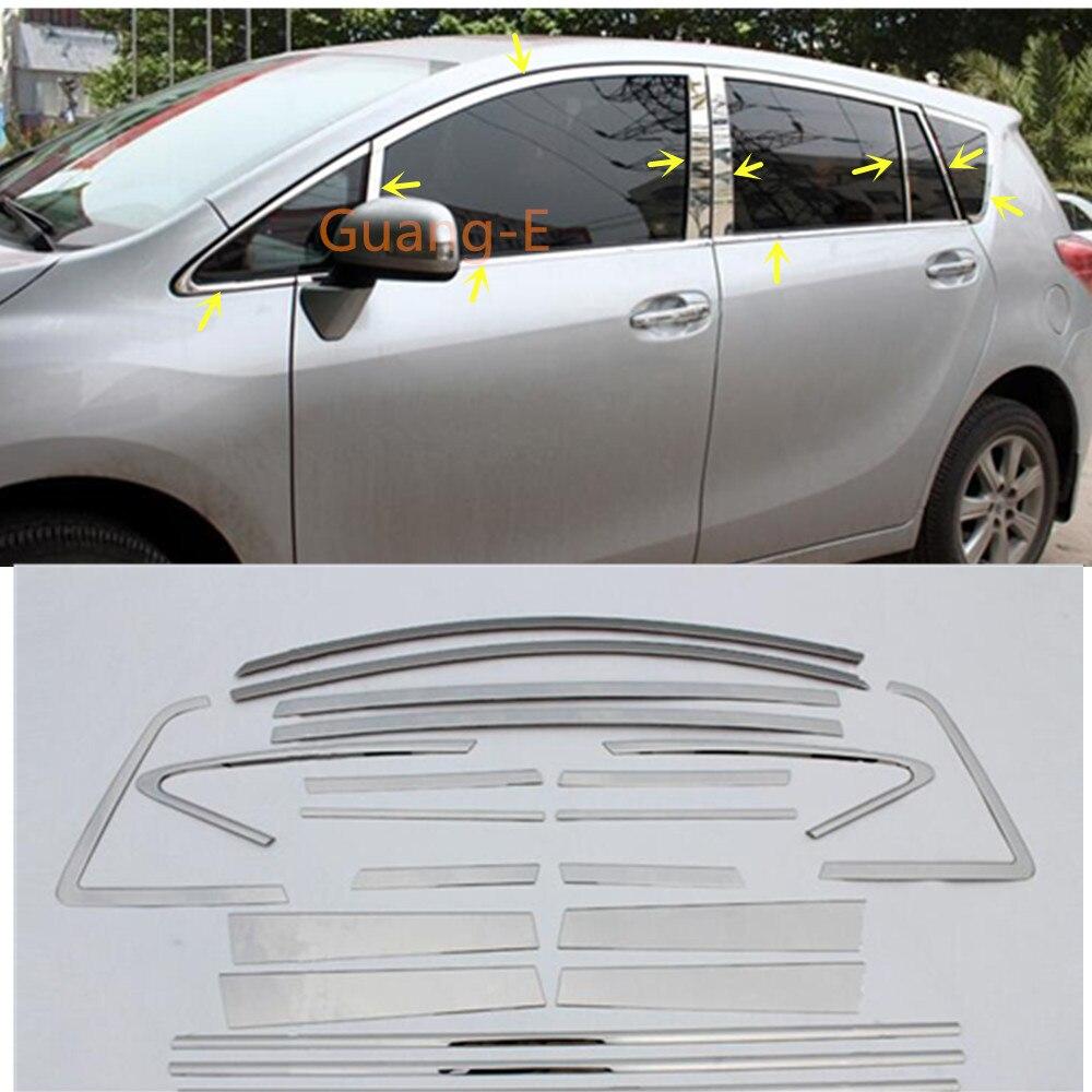 Barra de acero inoxidable para el coche, ventana de vidrio, guarnición del pilar central, tira embellecedora para Toyota EZ Verso 2011 2012 2013 2014 2015 2016