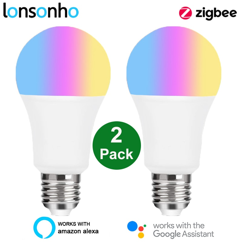 Lonsonho ZigBee 3.0 Tuya Smart Led Lamp Bulb Light E27 220V 110V RGB+W+C Works with Smartthings Alexa Echo Hub Google Home