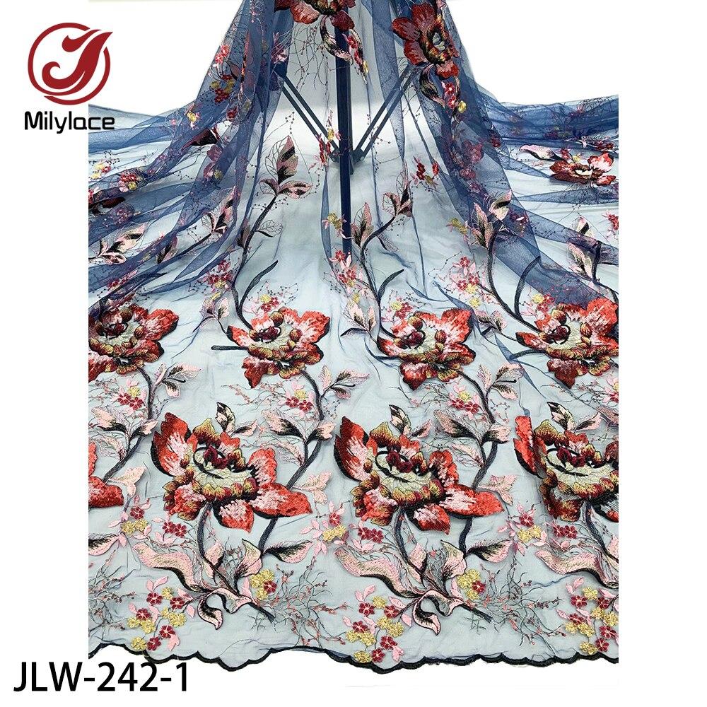 Milylace высококачественное французское кружево, тонкая Цветочная вышивка, Тюлевое кружево с блестками, 5 ярдов, вечерние, свадебные, JLW-242