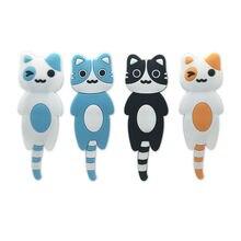 Cute Unique Cat Shape Tail Wall Mount Key Holder Cartoon Magnetic Refrigerator Hooks Hanging Hook Home Fridge Sticker New