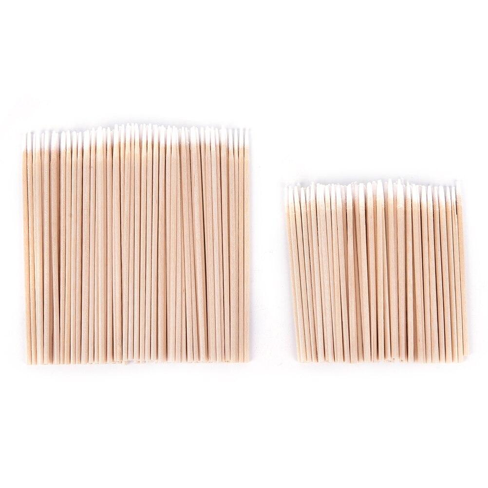100 pcs Wood Cotton Swab Manicure Clean Sticks Buds Tip Wood Cotton Head Swab Manicure Detail Corrector Nail Polish Remover