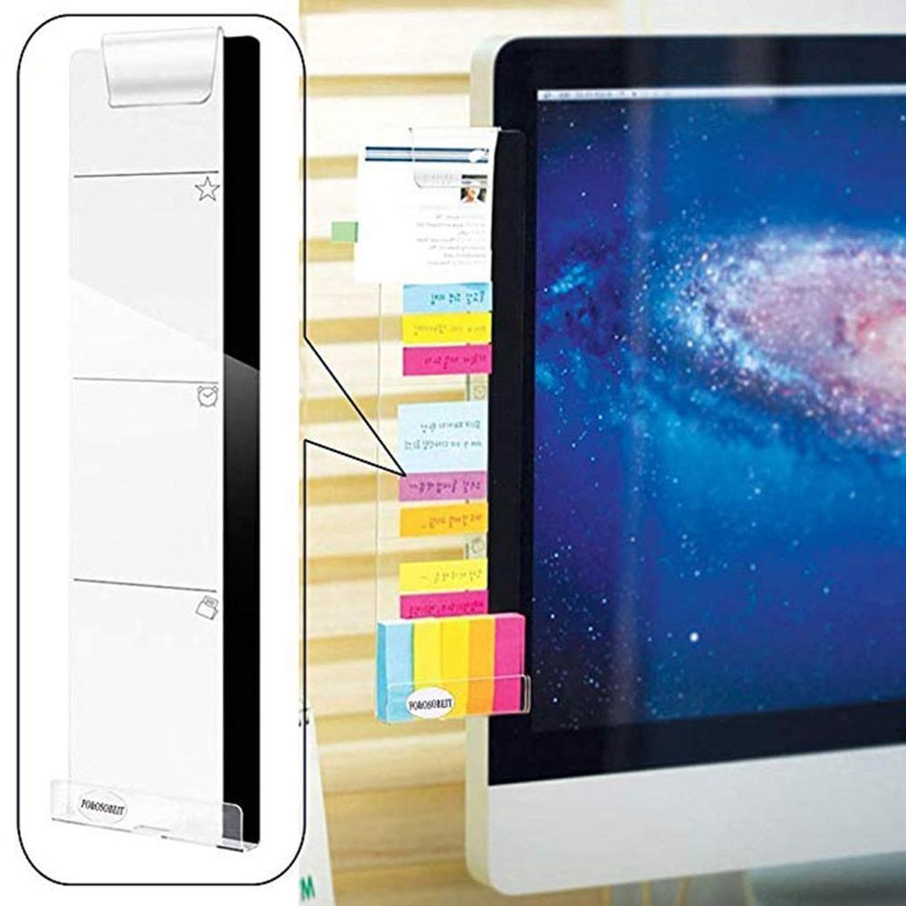 Pegar derecha/izquierda Monitor de ordenador pegatina acrílico notas de pantalla Clip de grabación de carga agujero soporte de teléfono profesional