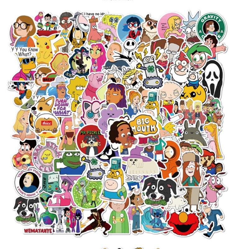 101 pçs dos desenhos animados personagens coleção graffiti à prova dwaterproof água skate viagem mala telefone portátil bagagem adesivos bonito crianças