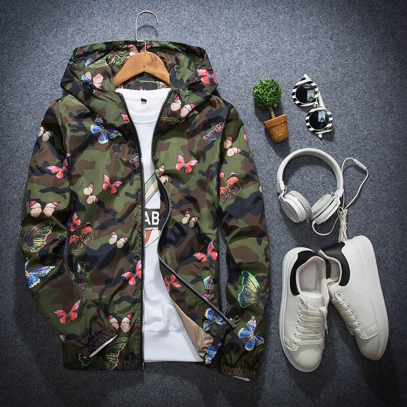 Новинка весны и осенние мужские и Womes куртки пара куртка с капюшоном Молодежная тонкая камуфляж с цветочным рисунком куртка с бабочками