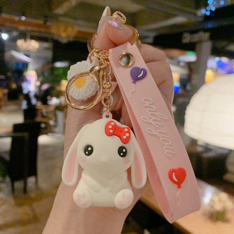 Мультяшный длинный брелок в виде кролика, подвеска для студенческой сумки, милые украшения для девочек, аксессуары для автомобильных ключе...