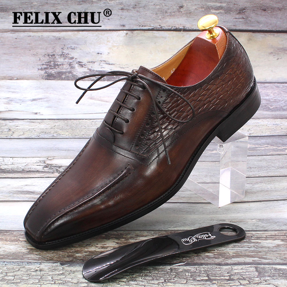 Luxury Mens Oxford Dress Shoes Genuine Leather Dark Brown Handmade Mens New Shoes Lace Up Business Office Formal Shoes for Men