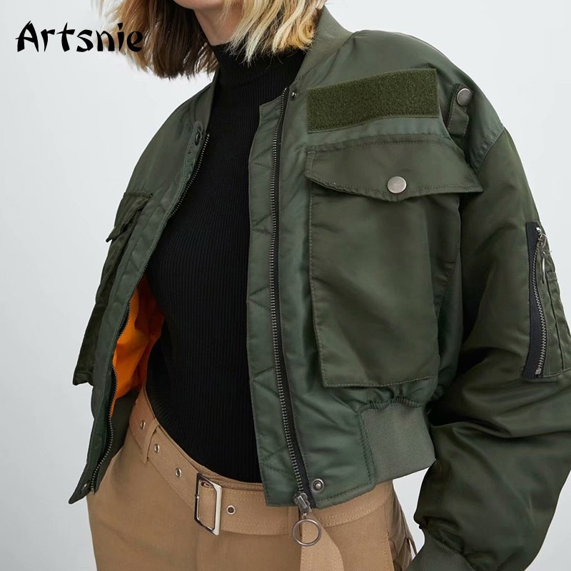 Artsnie Autumn 2020 Bomber Jacket Women Army Green Warm Zipper Pockets Winter Coat Female Jacket Parkas Femme Chaqueta Mujer