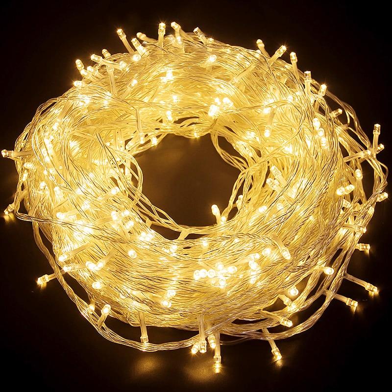 10 متر/20 متر/50 متر/100 متر LED أضواء عيد الميلاد في الهواء الطلق سلسلة أضواء جارلاند الجنية لوسيس الديكور ضوء مصباح حفلات الزفاف عطلة
