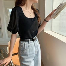 CMAZ Fashion Puff Sleeve Patchwork T-shirt Women 2021 Summer New Square Collar Knitted Tshirt Solid
