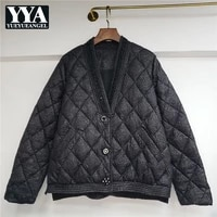 heavy industry beading cotton jacket v neck single breasted korean version luxury thin winter women warm coat argyle parkas