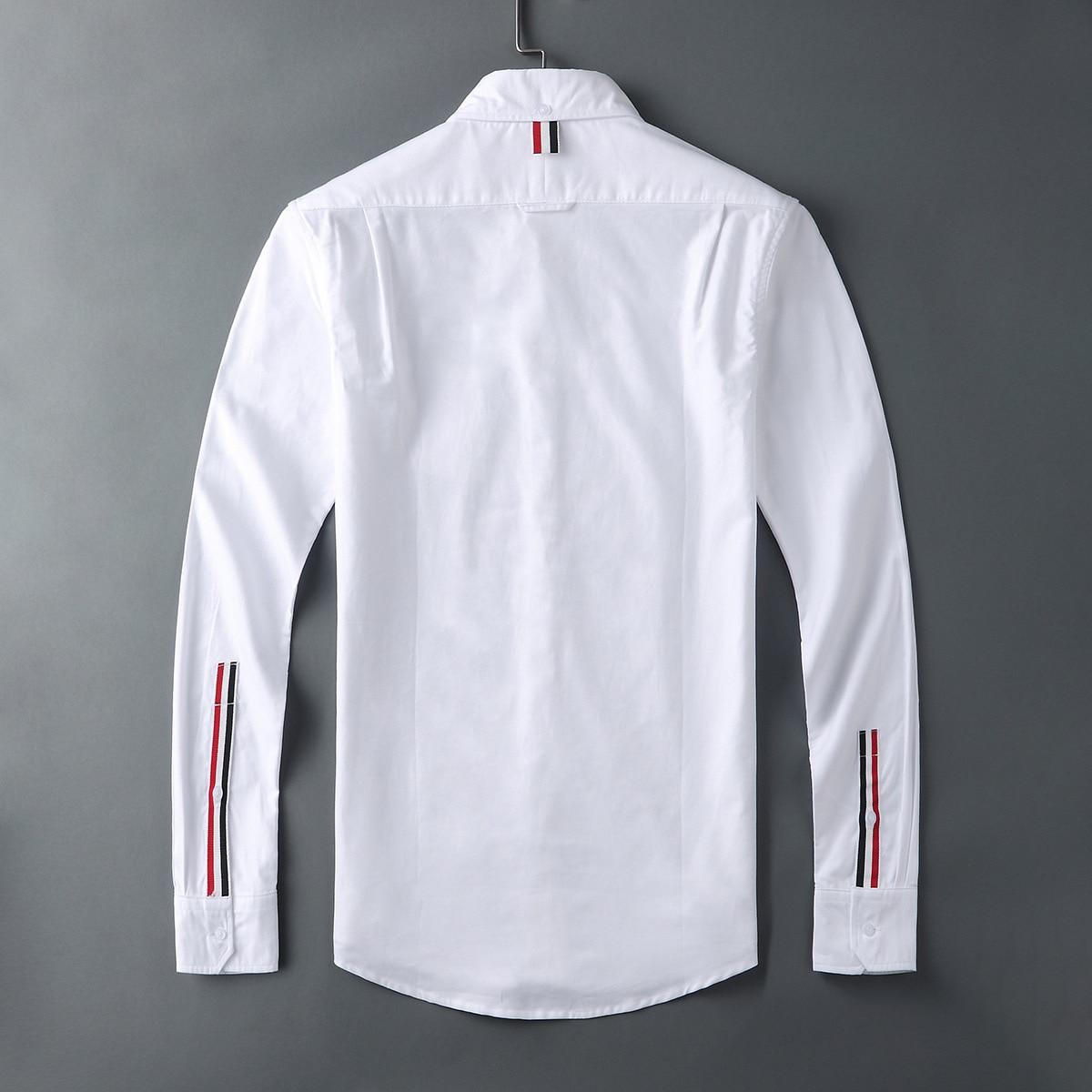 2021 Fashion Brand Shirts Men Slim White Long Sleeve Casual Shirt Turn Down Collar Oxford Cuff Ribbons Shirts for Men