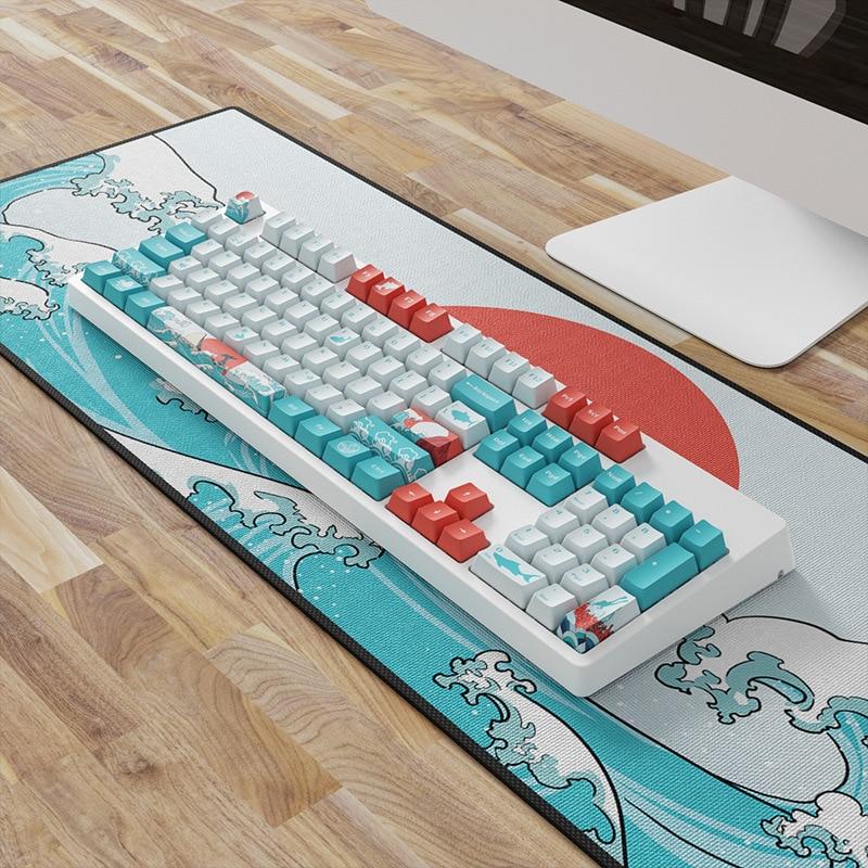 OEM PBT مجموعة قبعات المفاتيح صبغ التسامي Ukiyo-e اليابان المانغا لوحة الماوس ل GK61 الكرز MX مفاتيح لوحة المفاتيح الميكانيكية