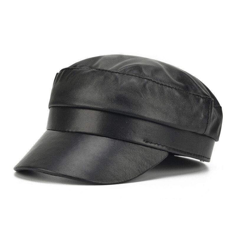 قبعة بيسبول من الجلد الطبيعي ، قبعة بيسبول من الجلد الطبيعي ، دافئة ، جلد البقر ، نمط موزع الصحف ، الجيش ، اللون الأسود ، للجنسين ، B110 ، 2020
