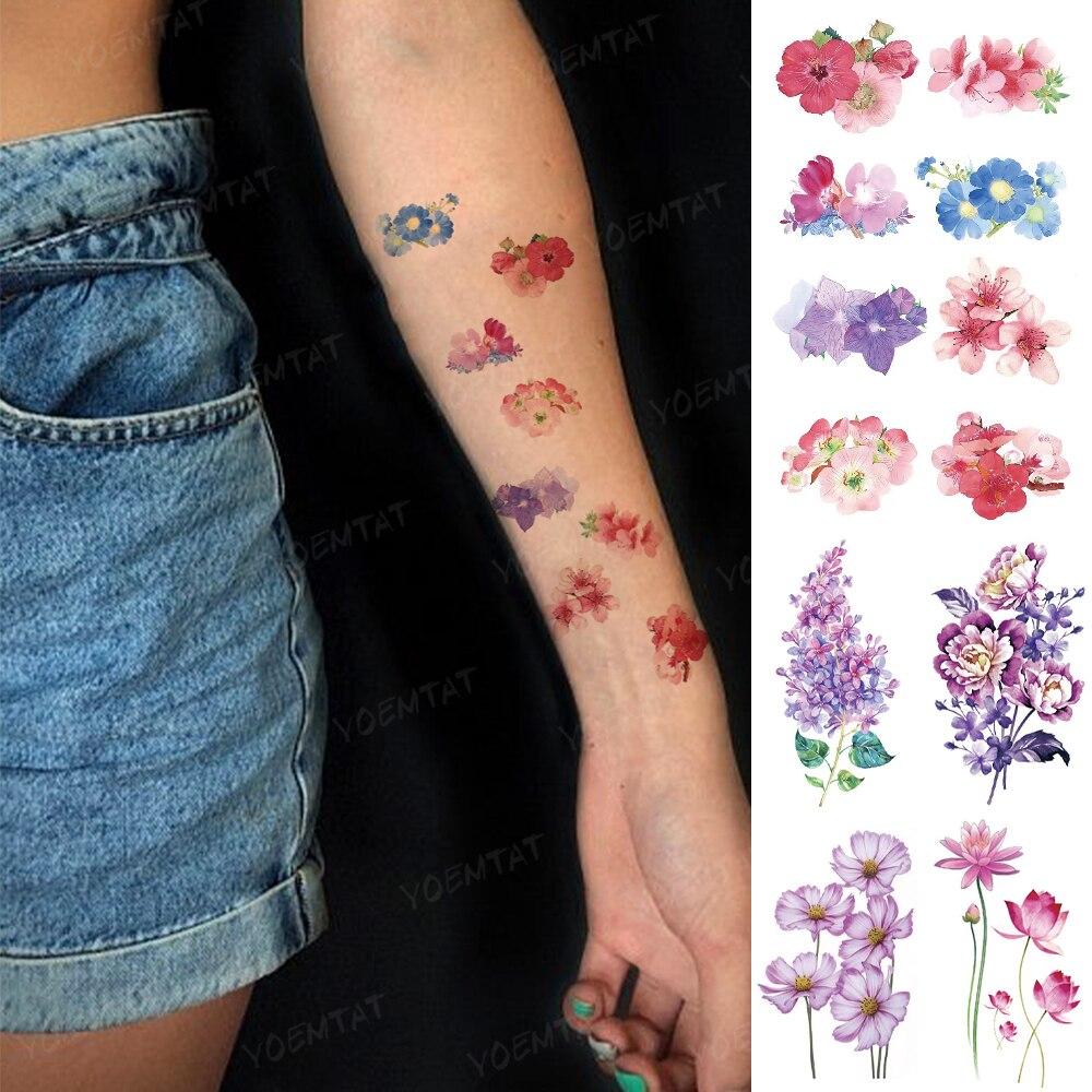 Водостойкая Временная тату-наклейка, акварель, струйный цветок, лаванда, Маргаритка, пионы, искусственная Мужская татуировка на руку