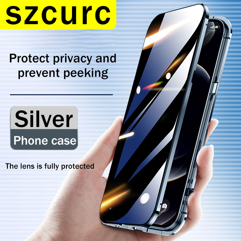 For iPhone 11 Case. NEW 360° Full Protection revent the peep Magnetic Adsorption Metal Glass phone cover iPhone 12 Pro MAX Mini