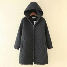 2019 new hooded plus size winter coat women black parka women coat warm loose zipper three quarter sleeves 4XL 5XL
