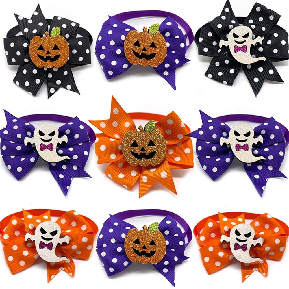 50/100pcs Halloween Pet Dog Accessories Pet Dog Bow Ties with Pumpkin Accessories Pet Dog Collar Hol