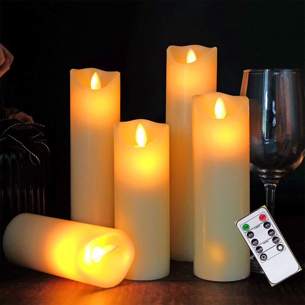 حزمة من 5 شمع البارافين عيد الميلاد مصابيح ليد على شكل شموع التحكم عن بعد ، الموقت عديمة اللهب بطارية تعمل السنة الجديدة الجدول نافذة الشموع