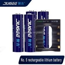 Nouveau JUGEE 2000mah 1.5v AA 3000mWh usb rechargeable li-polymère lithium AA batterie usb + chargeur USB 4 fentes