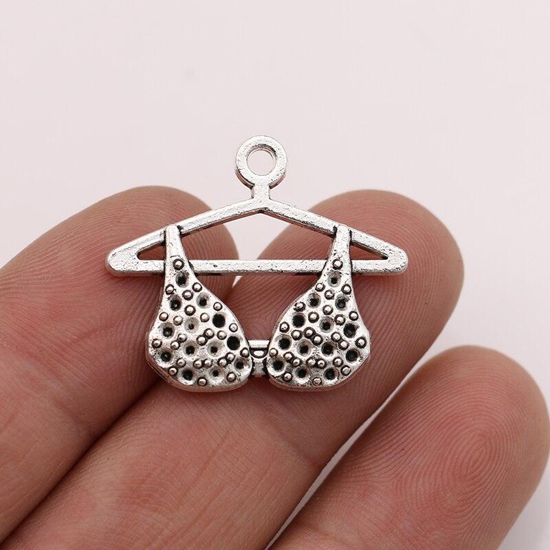 JAKONGO 10 pièces Antique argent plaqué femmes soutien-gorge breloques pendentifs pour la fabrication de bijoux Bracelet bricolage accessoires 27x24mm