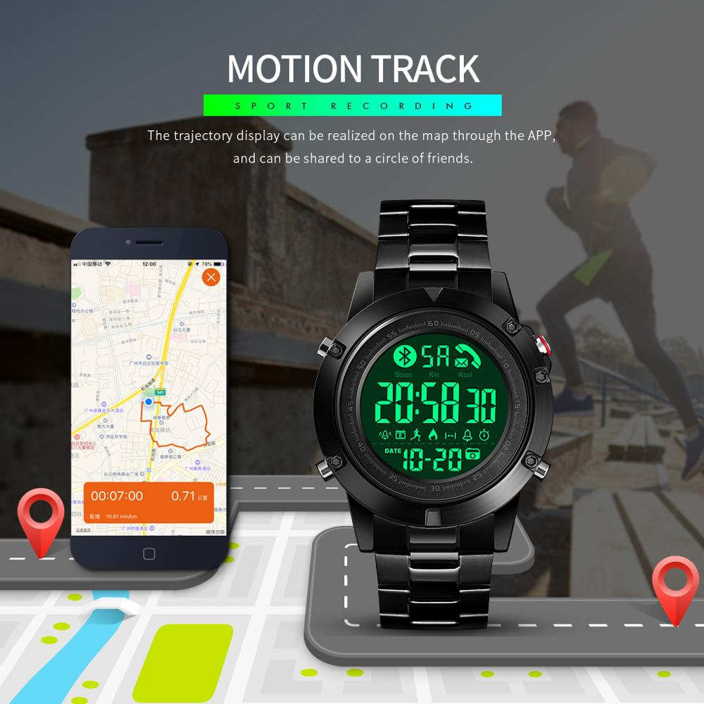 SKMEI Smart Watches Bluetooth Creative Fashion Sports WristWatch Men Steel Strap Calorie Pedometer Remote Camera SmartWatch New
