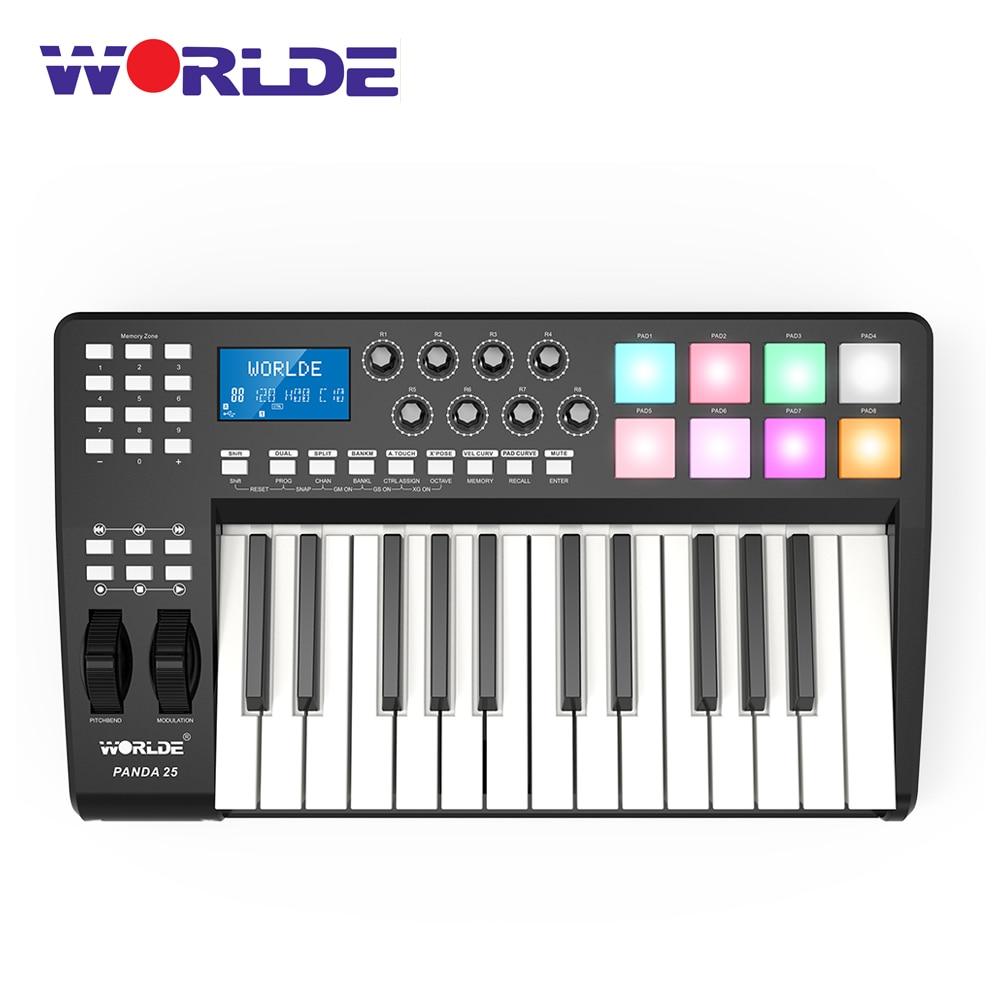 Worde-contrôleur clavier Midi Compact PANDA25, 25 touches, avec câble USB 8 RGB coloré rétro-éclairé