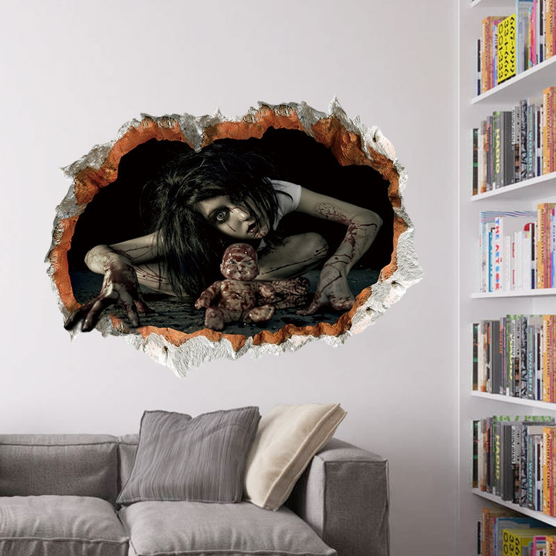 1 pçs halloween decoração horror 3d fantasma decalques de parede removível assustador adesivos de parede halloween casa assombrada arte mural decoração