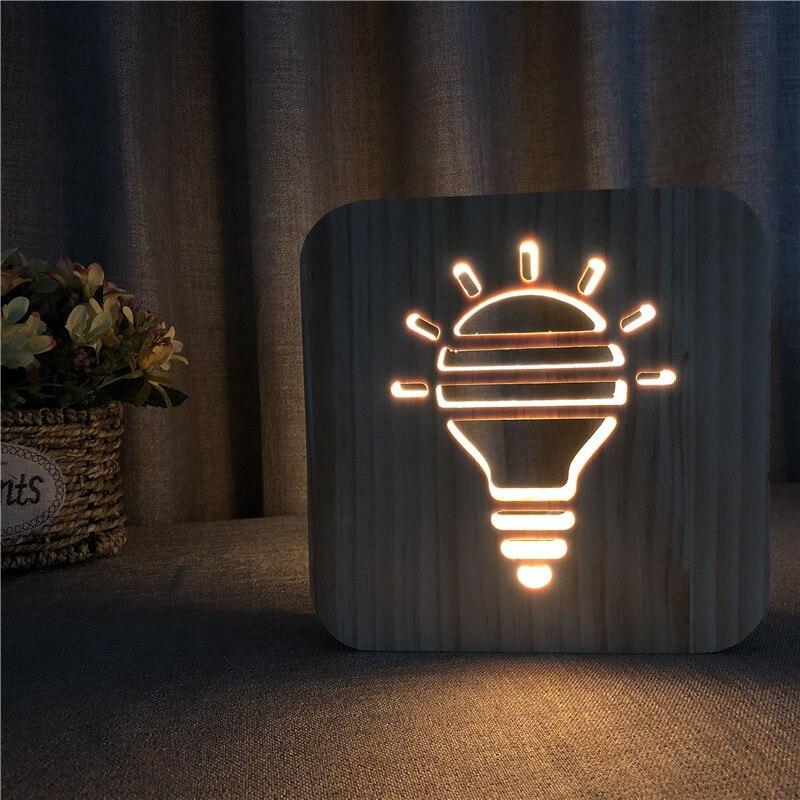 Lámpara de mesa con forma de bombilla, luz nocturna de madera en 3D, KT-C creativas, luces de Navidad, decoraciones de vacaciones Led para el hogar