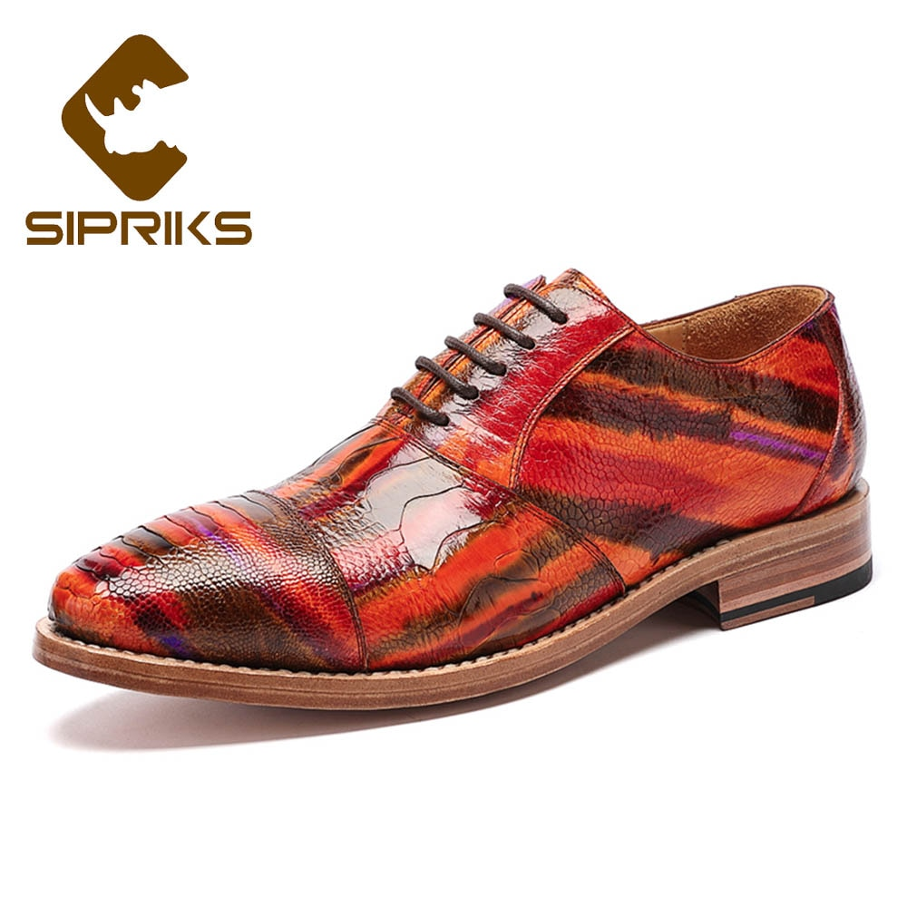 Sipriks Luxury 100% Ostrich Skin Casual Shoes For Mens Italian Handamde Goodyear Welted Dress Oxfords Male Wedding Shoes Suit 45