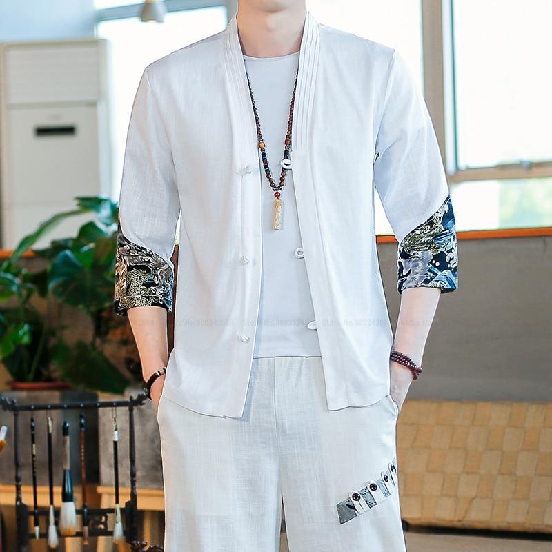 Harajuku japonés de moda para hombre, conjunto de camisas y pantalones casuales impresos, estilo Retro chino Hanfu, Chaqueta de punto, túnicas, pantalones bombachos, abrigos, traje