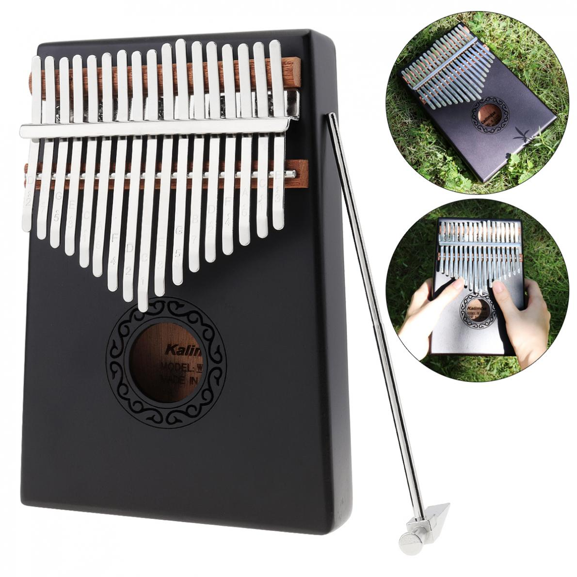 17 Key Gray Kalimba Single Board Mahogany Thumb Piano Mbira Mini Keyboard Instrument with Complete Accessories enlarge
