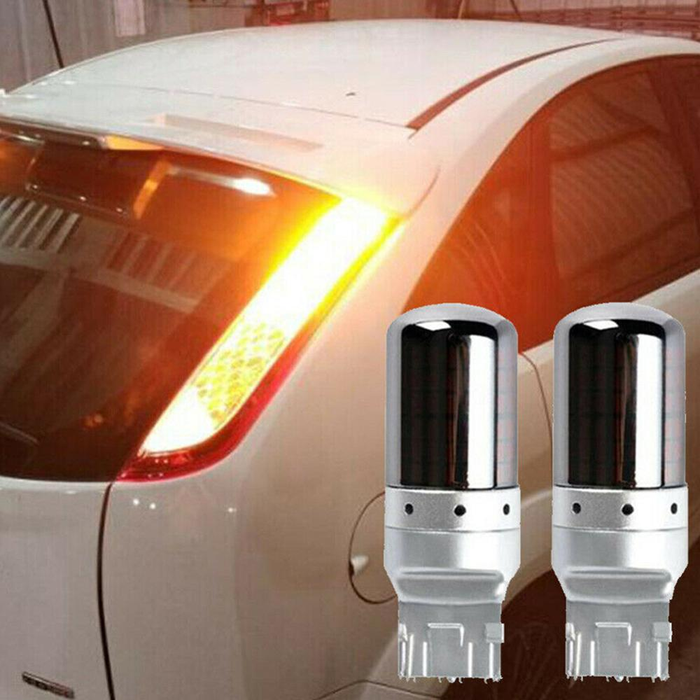 2pcs Chrome W21W P21W PY21W T20 LED 7440 1156 BA15S BAU15S Amber Canbus Error Free LED Lamp Bulb Turn Signal Light 144SMD