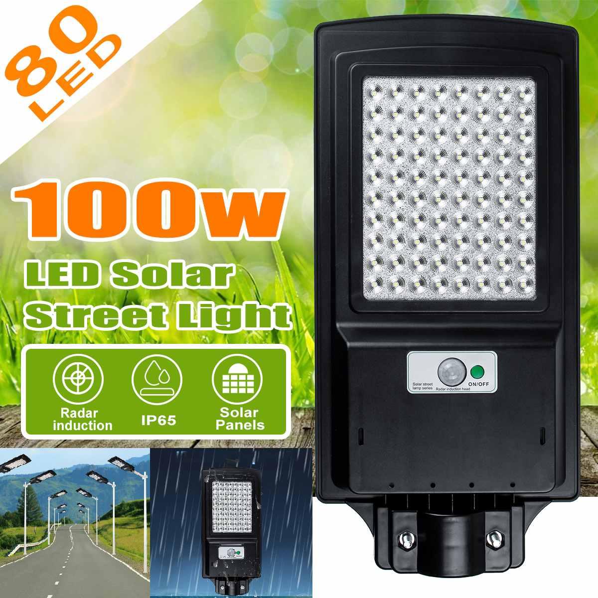 100W 80 LEDs lámpara de pared IP65 impermeable farola Solar Radar movimiento farola luz Solar para jardín al aire libre