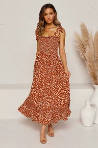 Europe and the United States 2021 spring and summer new two color one line collar floral dress elastic lace long skirt