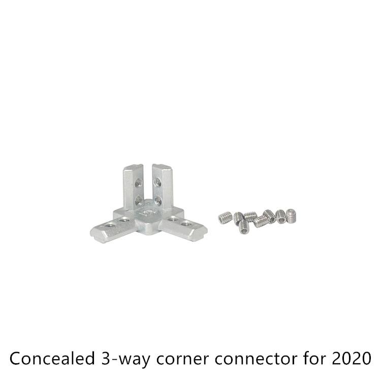 Conector tridimensional tipo L con esquina oculta de 3 vías, perfil 2020, ángulo recto estándar europeo